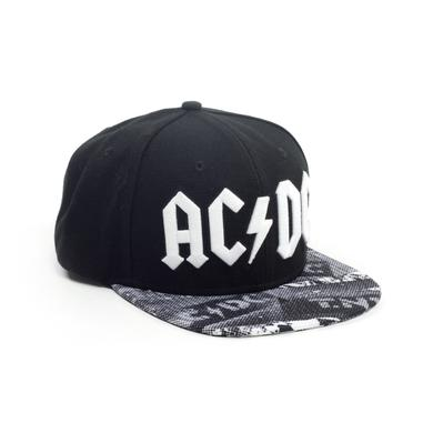 AC/DC White Embroidered 3D Black Hat