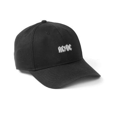 AC/DC White Logo Lightening Bolt Embroireded Black Hat