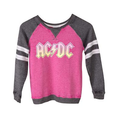 AC/DC Pink Logo Juniors Pink/Grey Hoodie