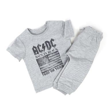 AC/DC 1980 US Tour Flag Grey/Lighting Bolt Flag Kids T-shirt/Pants combo