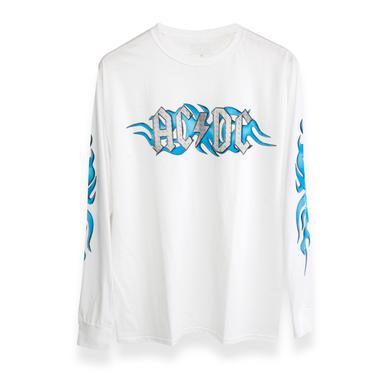 AC/DC Blue Flames Steel Logo White Longsleeve T-Shirt