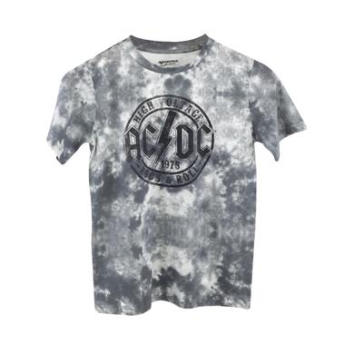 AC/DC Grey Tie Dye High Voltage 1975 Circle Logo T-Shirt