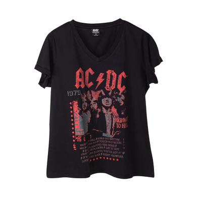 AC/DC Highway To Hell Track List Black V-Neck T-Shirt