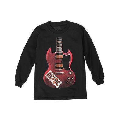 AC/DC Red Guitar Black Longlseeve T-Shirt