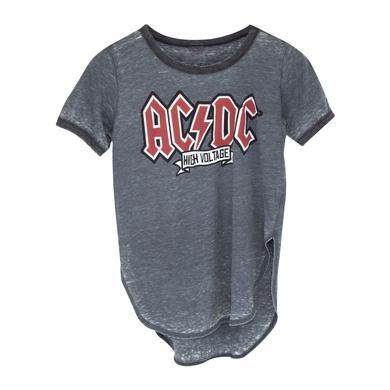 AC/DC Red Logo High Voltage Grey T-Shirt