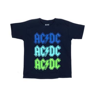 AC/DC Multi Colored Logo Black T Blue Green