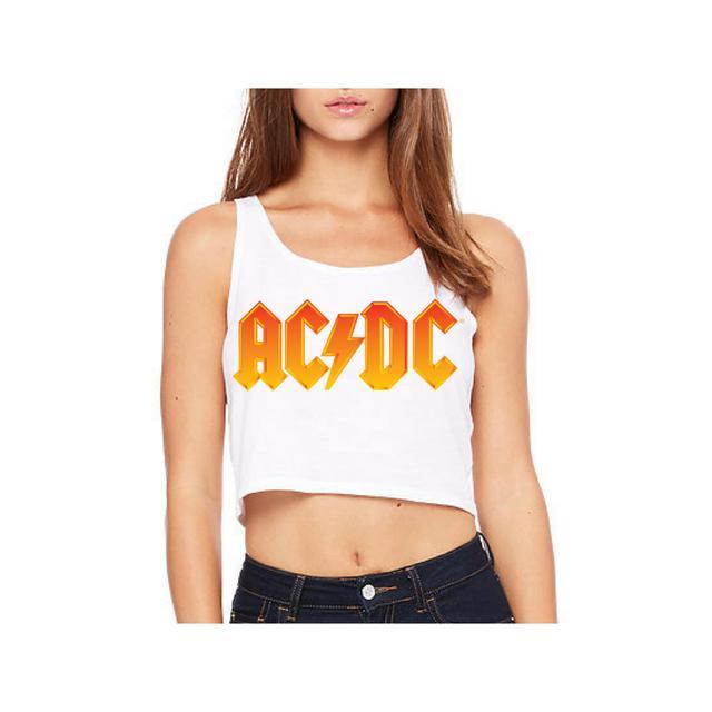 AC/DC Fire Logo Sleeveless Crop Top