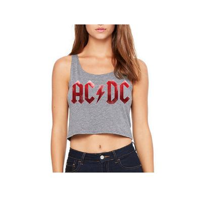 AC/DC Red Grunge Logo Sleeveless Crop Top