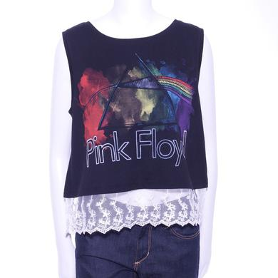 Pink Floyd Lace Bottom Paint Splash Tank Top
