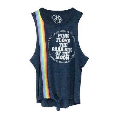 Pink Floyd Rainbow Vertical Tripe Dark Side of the Moon Circle Blue Tank