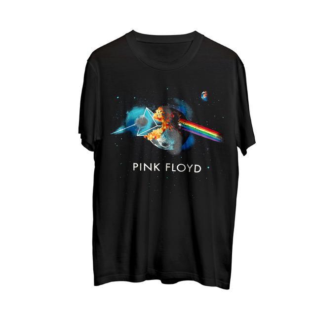 Pink Floyd Exploding Moon Dark Side Triangle Galaxy T Black
