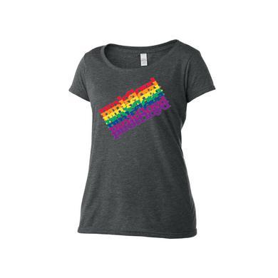 Pink Floyd Women's Scoop Neck Slanted Secret Logo T-Shirt