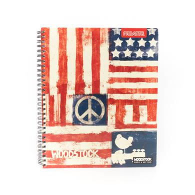 Woodstock American Flag Peace Sign Bird Notebook