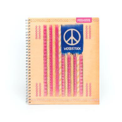 Woodstock American Flag Glitter Tan Cover Notebook