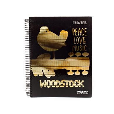 Woodstock Black/Gold Peace Love and Music Cover Notebook