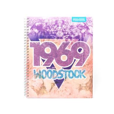 Woodstock 1969 Purple Glitter/Flower Cover Notebook