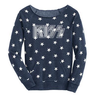 Kiss Bling Patriotic Stars Slouchy Fleece