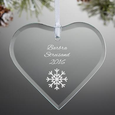 Barbra Streisand Etched Glass Heart Holiday Ornament