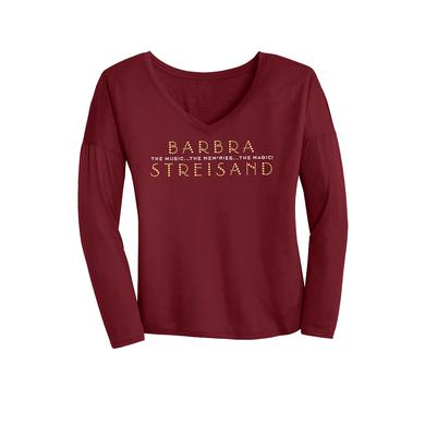 Barbra Streisand Crystal Bling Long Sleeve Drapey V-neck (women)