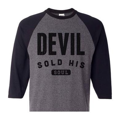 DEVIL SOLD HIS SOUL Devil Heather Grey Baseball T-Shirt