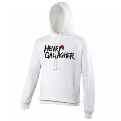 Henry Gallagher White Text Logo Hoody