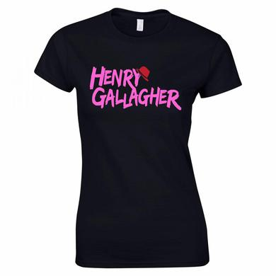 Henry Gallagher Ladies Pink Text Black Logo T-Shirt