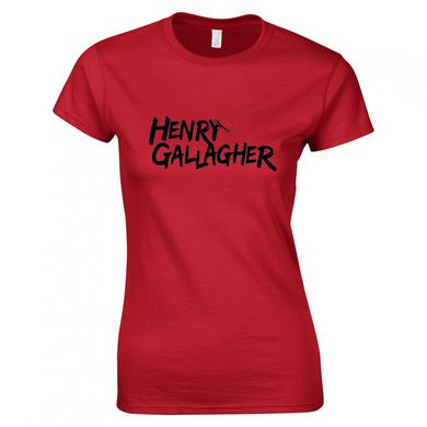 Henry Gallagher Ladies Black Text Red Logo T-Shirt