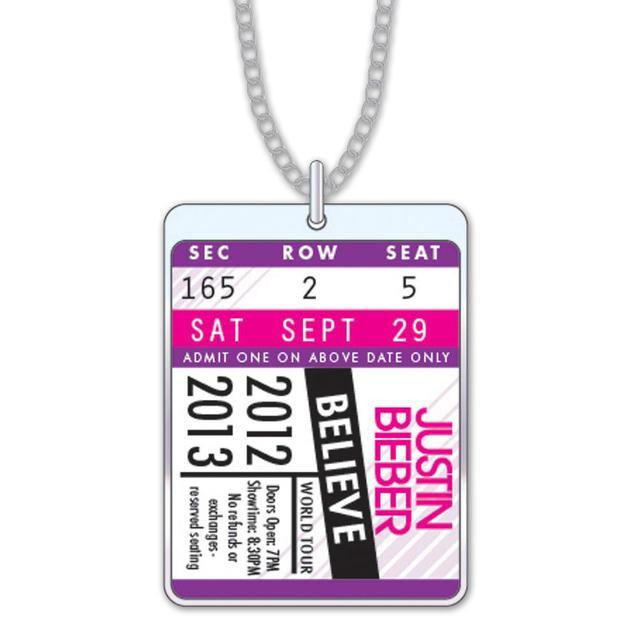 Justin Bieber Tour Ticket Necklace