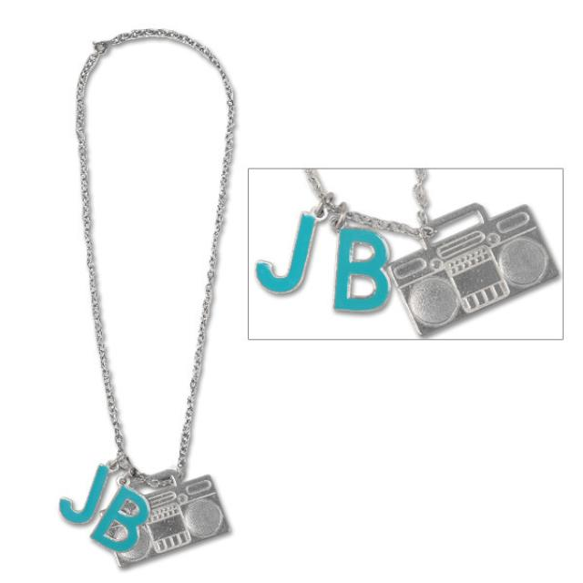 Justin Bieber Initials Boom Box Necklace