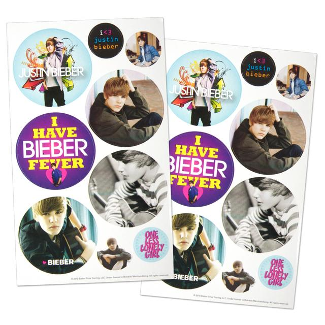 Justin Bieber Large Button Sticker Pack