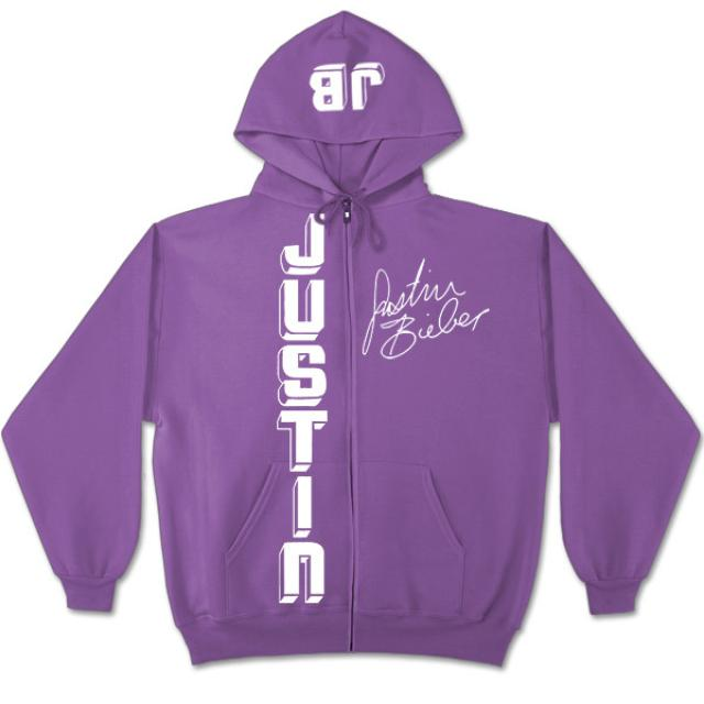 Justin Bieber Vertical Logo Girls Purple Zip Hoodie