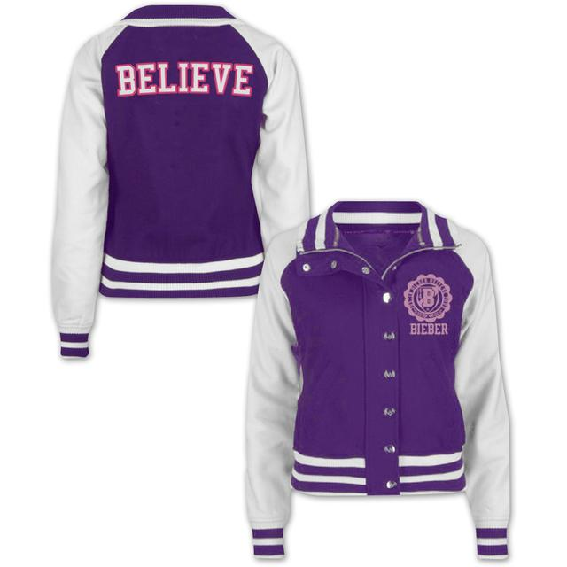 Justin Bieber Girls Purple Varsity Jacket