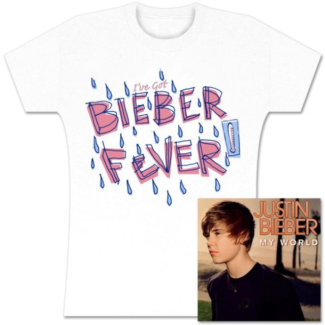 Justin Bieber My World CD and Bieber Fever Girls T-Shirt