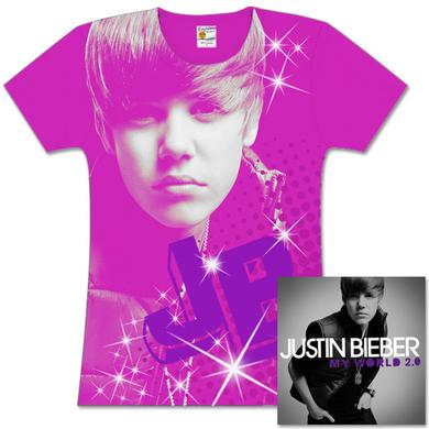 Justin Bieber My World 2.0 CD and T-Shirt Bundle