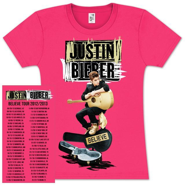 Justin Bieber  Scribble Guitar Case Girlie T-Shirt