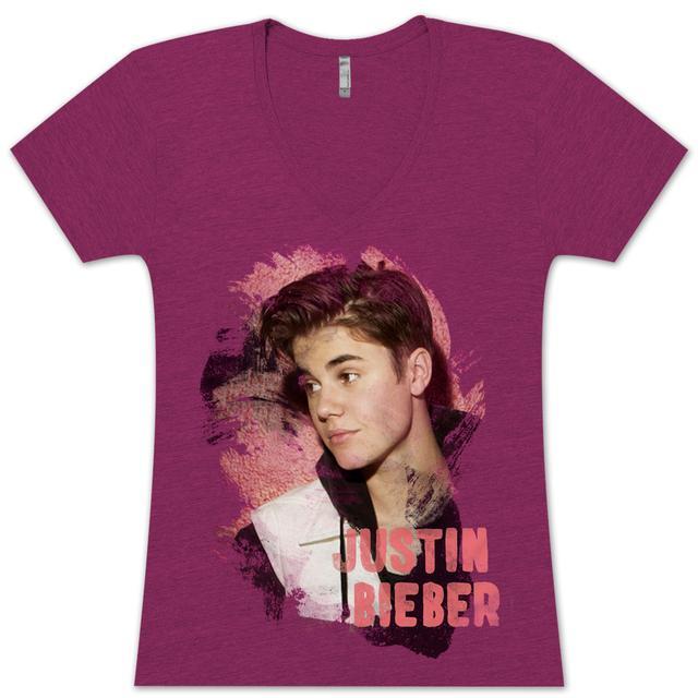 Justin Bieber Painted Sketch Girlie V-Neck T-Shirt