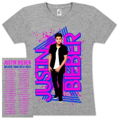 Justin Bieber Geo Wording Youth Girlie T-Shirt