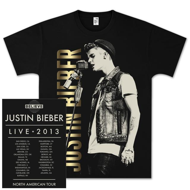 Justin Bieber Profile Mic Foil Dateback T-Shirt
