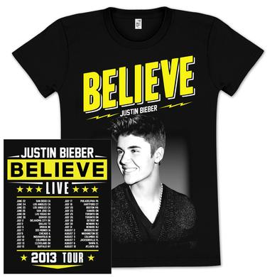 Justin Bieber Live Tour Youth Dateback T-Shirt