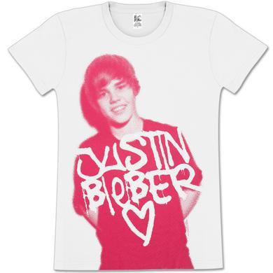 Justin Bieber Stencil Drip Girls Fitted T-Shirt