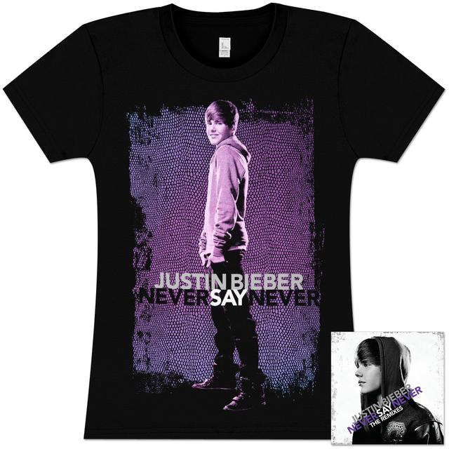 "Justin Bieber ""Never Say Never - The Remixes"" CD/T-Shirt Bundle #5"