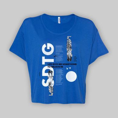 SHE DREW THE GUN Ladies Poem White On Blue T-Shirt