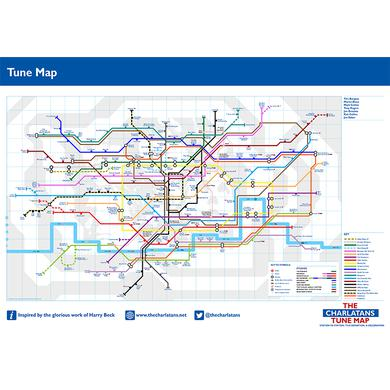 The Charlatans A2 Tune Map Print (Updated Version)