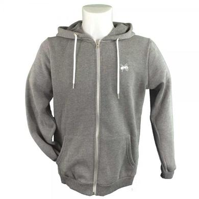 The Prodigy Classic Logo Embroidered Grey Zip Fitted Hoodie