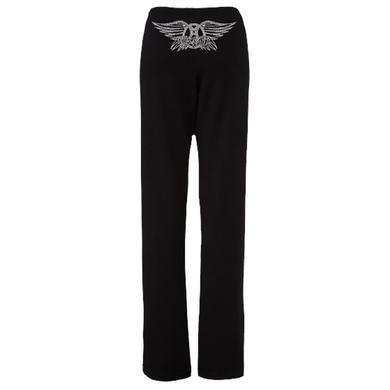 Aerosmith Wings Logo in clear crystals fleece sweatpants