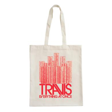 Travis Buildings Red Tote Bag