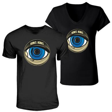 KING KING Blue Eye Black V-Neck T-shirt