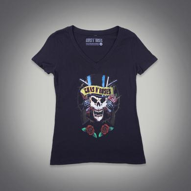 Guns N' Roses Women's Skull V-Neck