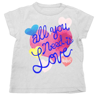 The Beatles All You Need Watercolor Hearts Youth T-Shirt