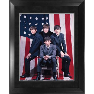 The Beatles Through the Years: 1964 US Flag Framed Photo